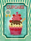 Ζωηρόχρωμο cupcake με τα κόκκινες κεράσια και την κρέμα, κείμενο διανυσματική απεικόνιση