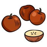 Ζωηρόχρωμο doodle μήλων sticker Απομονωμένη διάνυσμα εικόνα ελεύθερη απεικόνιση δικαιώματος