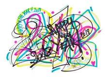 2018 ζωηρόχρωμο Doodle Graffity Στοκ Εικόνα