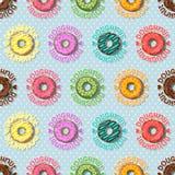 Ζωηρόχρωμο doughnut και άνευ ραφής σχέδιο σημείων Πόλκα Στοκ εικόνες με δικαίωμα ελεύθερης χρήσης