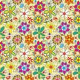 ζωηρόχρωμο eps γεμίζει το πρότυπο λουλουδιών άνευ ραφής διανυσματική απεικόνιση