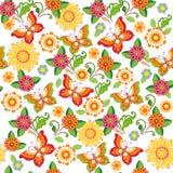 Ζωηρόχρωμο floral άνευ ραφής σχέδιο με τις πεταλούδες floral περίκομψος Στοκ φωτογραφία με δικαίωμα ελεύθερης χρήσης