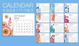Ζωηρόχρωμο floral ημερολογιακό διανυσματικό πρότυπο έτους 2018 απεικόνιση αποθεμάτων
