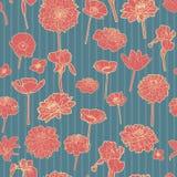 Ζωηρόχρωμο floral σχέδιο με τα λωρίδες απεικόνιση αποθεμάτων