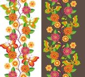 Ζωηρόχρωμο floral σχέδιο με τις πεταλούδες Στοκ Φωτογραφία