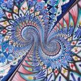 Ζωηρόχρωμο fractal επίδρασης ζωγραφικής διακοσμήσεων ανατολικό διπλό σπειροειδές αφηρημένο υπόβαθρο σχεδίων Γεωμετρική floral σπε Στοκ εικόνες με δικαίωμα ελεύθερης χρήσης
