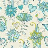 Ζωηρόχρωμο hand-drawn floral υπόβαθρο πρότυπο άνευ ραφής Στοκ Φωτογραφίες