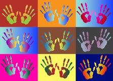 Ζωηρόχρωμο handprint σχεδίων, απεικονίσεις Στοκ Εικόνα