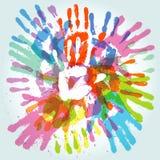 ζωηρόχρωμο handprint Στοκ Εικόνες
