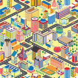 Ζωηρόχρωμο isometric άνευ ραφής σχέδιο πόλεων Διανυσματικό πόλης υπόβαθρο κινούμενων σχεδίων απεικόνισης Στοκ εικόνες με δικαίωμα ελεύθερης χρήσης
