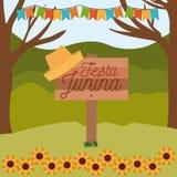 Ζωηρόχρωμο junina festa αφισών στον ξύλινο φράκτη με το υπόβαθρο υπαίθρια με τους ηλίανθους και τις χρωματισμένες γιρλάντες διανυσματική απεικόνιση