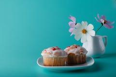 Ζωηρόχρωμο muffin στο πιατάκι με το λουλούδι Υπόβαθρο χρώματος Aqua Στοκ Εικόνα