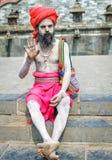 Ζωηρόχρωμο Sadhu στο ναό Pashupatinath Στοκ Φωτογραφίες