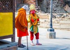 Ζωηρόχρωμο Sadhu Hanuman στο ναό Pashupatinath Στοκ φωτογραφία με δικαίωμα ελεύθερης χρήσης