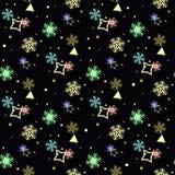 Ζωηρόχρωμο Snowflakes οριζόντιο υπόβαθρο eps 10 σχεδίων συνόρων άνευ ραφής απεικόνιση αποθεμάτων