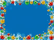 Ζωηρόχρωμο snowflakes δώρων Χριστουγέννων πλαίσιο Στοκ εικόνα με δικαίωμα ελεύθερης χρήσης