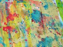 Ζωηρόχρωμο watercolor κρητιδογραφιών που χρωματίζει το αφηρημένα σχέδιο και το υπόβαθρο Στοκ φωτογραφίες με δικαίωμα ελεύθερης χρήσης