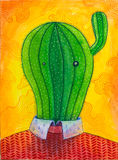 Ζωηρόχρωμο watercolor του κ. Cactus Στοκ εικόνα με δικαίωμα ελεύθερης χρήσης
