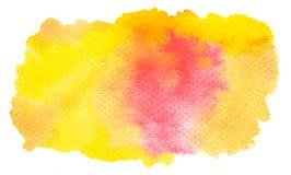 Ζωηρό κίτρινο πορτοκαλί υπόβαθρο watercolor Στοκ Εικόνα