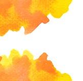 Ζωηρό κίτρινο πορτοκαλί υπόβαθρο watercolor Στοκ Φωτογραφία