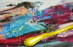 Ζωηρό λαμπιρίζοντας ζωηρόχρωμο υπόβαθρο watercolor χρωμάτων, κτυπήματα βουρτσών, οργανικό υπνωτικό υπόβαθρο Στοκ Φωτογραφίες