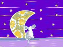 Ζωικά στοιχεία θέματος κινούμενων σχεδίων ποντικιών Νύχτα αστροφεγγιάς Στοκ Εικόνες