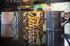 Ζωικές κούπες καφέ δερμάτων Στοκ φωτογραφία με δικαίωμα ελεύθερης χρήσης