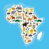 Ζωική Αφρική: ζέβες lemu στρουθοκαμήλων τσετσέ κουνουπιών καμηλών φιδιών Mamba ελεφάντων χελωνών κροκοδείλων Hippopotamus ρινοκέρ Στοκ Εικόνα