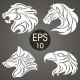 Ζωική συλλογή σχεδίου λογότυπων Ζωικό έμβλημα Λιοντάρι, άλογο, αετός, λύκος Στοκ Εικόνες
