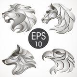 Ζωική συλλογή σχεδίου λογότυπων Ζωικό σύνολο Λιοντάρι, άλογο, αετός, λύκος Στοκ Εικόνες