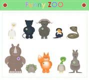 Ζωικός ζωολογικός κήπος, μέρος τέσσερα αστεία μικρά ζώα βελούδου Διάνυσμα κινούμενων σχεδίων διανυσματική απεικόνιση
