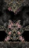 Ζωικός χρυσός κεντητικής τυπωμένων υλών λουλουδιών τριαντάφυλλων στοκ φωτογραφία