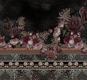 Ζωικός χρυσός κεντητικής τυπωμένων υλών τριαντάφυλλων λουλουδιών στοκ φωτογραφίες με δικαίωμα ελεύθερης χρήσης