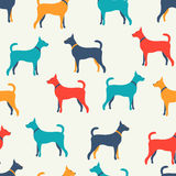 Ζωικό άνευ ραφής διανυσματικό σχέδιο των σκιαγραφιών σκυλιών Στοκ Φωτογραφία