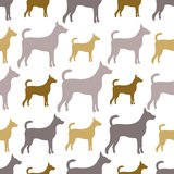 Ζωικό άνευ ραφής σχέδιο των σκιαγραφιών σκυλιών Στοκ Εικόνα