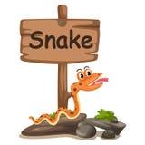Ζωικό γράμμα S αλφάβητου για το φίδι Στοκ Φωτογραφίες