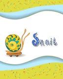 Ζωικό γράμμα S αλφάβητου και snai Στοκ εικόνα με δικαίωμα ελεύθερης χρήσης