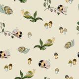 Ζωικό διανυσματικό άνευ ραφής σχέδιο σαλιγκαριών άγριας φύσης κήπων Παράσιτο spir απεικόνιση αποθεμάτων