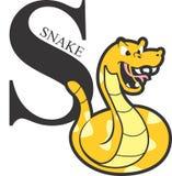 Ζωικό κίτρινο φίδι αλφάβητου Στοκ Εικόνες