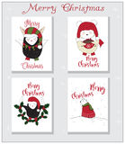 Ζωικό σύνολο καρτών Χριστουγέννων Απεικόνιση αποθεμάτων