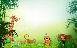 Ζωικό υπόβαθρο Themed ζουγκλών ή ζωολογικών κήπων απεικόνιση αποθεμάτων
