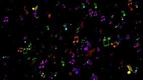 Ζωντάνεψε πολλές ζωηρόχρωμες σημειώσεις μουσικής Μαύρη ανασκόπηση διανυσματική απεικόνιση