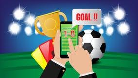 Ζωντανή εφαρμογή ανοικτής γραμμής ποδοσφαίρου ποδοσφαίρου στο υπόβαθρο σταδίων, αθλητική στοιχημάτιση απεικόνιση αποθεμάτων