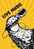 Ζωντανή μουσική Ζωικό πόδι με το μικρόφωνο Μουσικό υπόβαθρο αφισών για το κόμμα χιπ-χοπ Διανυσματική απεικόνιση ύφους δερματοστιξ ελεύθερη απεικόνιση δικαιώματος