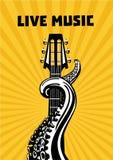 Ζωντανή μουσική Πλοκάμια χταποδιών με την κιθάρα Μουσικό υπόβαθρο αφισών για τη συναυλία Διανυσματική απεικόνιση ύφους δερματοστι απεικόνιση αποθεμάτων