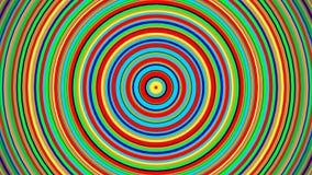 Ζωντανεψονται πολύχρωμοι γαλαζοπράσινοι κόκκινοι, κίτρινοι, περιστρεφόμενοι ομόκεντροι κύκλοι κλίσης και ακτινωτός βρόχος κινήσεω απεικόνιση αποθεμάτων