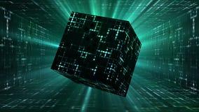 Ζωντανεψοντας διαστημικός κύβος που περιστρέφεται στο διάδρομο sci-Fi διανυσματική απεικόνιση
