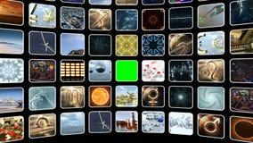 Ζωντανεψοντας κυρτός τηλεοπτικός τοίχος με τα εικονίδια και την πράσινη οθόνη Βρόχος-ικανός τρισδιάστατη απόδοση 4k διανυσματική απεικόνιση