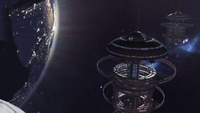 Ζωντανεψοντας στόλος των φουτουριστικών διαστημικών σταθμών 4K διανυσματική απεικόνιση