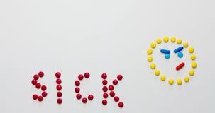 Ζωντανεψοντας συνδετήρας από τις γλυκές ζωηρόχρωμες καραμέλες - από τους αρρώστους σε υγιείς διανυσματική απεικόνιση